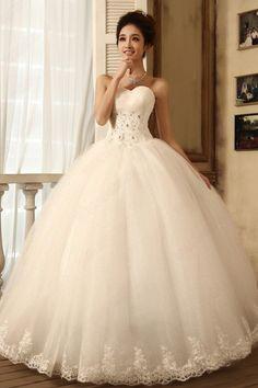 White Satin Strapless Off The Shoulder Sleeveless Princess Floor Length Diamond Wedding Dresses Dress