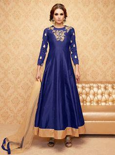 Blue Banglori Silk Ankle Length Anarkali Suit 85262