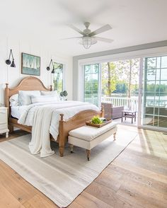 White and Blue lake house master bedroom. Rustic warm woods, white planked walls, and pale blue/gray walls give a serene feeling to this lake home. Coastal Bedrooms, Coastal Living Rooms, Home Living Room, Cottage Bedrooms, Master Bedrooms, Dream Master Bedroom, Neutral Bedrooms, White Bedrooms, Home Decor Bedroom