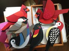 illustration, gardening, treasure hunts, oh my! Bird Crafts, Felt Crafts, Diy And Crafts, Crafts For Kids, Arts And Crafts, Paper Crafts, Paper Birds, Felt Birds, Paper Engineering
