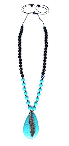 Pimlico - Handmade in London this pretty adjustable necklace is the perfect accessory for summer. Made with turquoise beads, swarovski crystal and a glass evil eye for added protection.