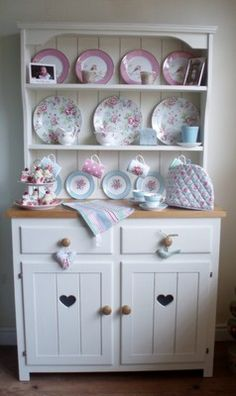 Pine Dresser, painted in Old White Chalk paint and waxed. (Do this with kitchen hutch)