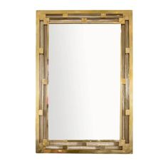 Modern Italian Brass Wall Mirror | From a unique collection of antique and modern wall mirrors at https://www.1stdibs.com/furniture/mirrors/wall-mirrors/