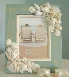 Seashell Frame in Aqua with 2 corner clusters of white seashells, white finger starfish, sand dollars, and pearls Seashell Picture Frames, Seashell Frame, Seashell Art, Seashell Crafts, Beach Frame, Seashell Projects, Sea Crafts, Frame Crafts, Beach House Decor
