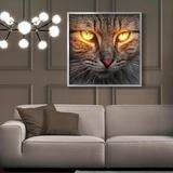 Adorable Cat with LED Lighted Yellow Eyes Framed Canvas Print Framed Canvas Prints, Canvas Frame, Canvas Art, Modern Artwork, Modern Wall Art, Cool Wall Decor, Eye Frames, Lighted Canvas, Yellow Eyes