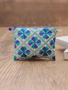 Blue-Ivory Embellished Cotton Phulkari Pouch - 4in x 5.5in