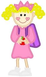 Backpack Girl Applique - 3 Sizes! | back-to-school | Machine Embroidery Designs | SWAKembroidery.com Band to Bow
