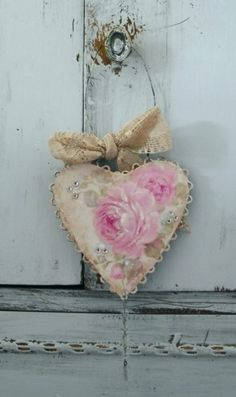 Hand Painted Valentine Heart with Rhinestones and Crystals by Debi Coules