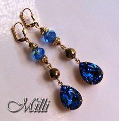 Long Swarovski Sapphire Blue and Gold Aurum 2x Earrings