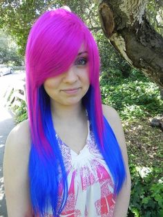 Neon blue and purple hair. My friend had that Neon Hair, Purple Hair, Ombre Hair, Turquoise Hair, Violet Hair, Vibrant Hair Colors, Bright Hair, Colorful Hair, Neon Colors