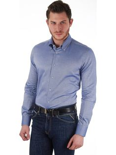 Delsiena Men's shirt in Oxford blue fabric with button-down collar