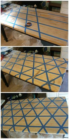 Kitchen table redo - Nine Red How To DIY Triangle Pattern Kitchen Tabletop Refurbished Furniture, Paint Furniture, Furniture Projects, Furniture Makeover, Repurposed Furniture, Hutch Makeover, Furniture Design, Trendy Furniture, Kitchen Furniture
