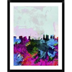 """Naxart 'Melbourne Skyline' Framed Watercolor Painting Print Size: 38"""" H x 30"""" W x 1.5"""" D"""