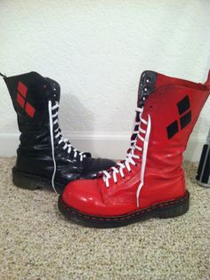 Boots + spray paints + leather cut outs + glue = Perfect for Harley Quinn…