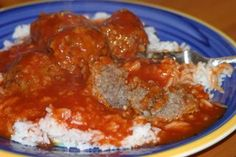 Porcupine meatballs- ground beef with long grain rice.  The ultimate comfort food.  Recipe available at http://www.beckyhiggins.com/recipes/?p=22