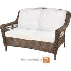 Hampton Bay Spring Haven Grey Wicker Patio Loveseat with Cushion ...