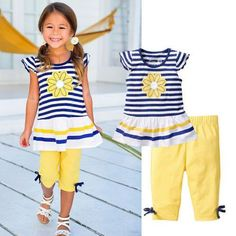2016 New Girls Clothing Sets Baby Kids Clothes Suit Children Short Sleeve Striped T-Shirt +Pants children clothing set