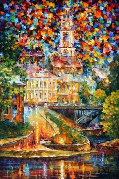Vitebsk Reflection — PALETTE KNIFE Oil Painting on Canvas by AfremovArtStudio, $249.00