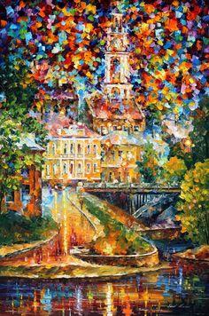 Vitebsk Reflection — PALETTE KNIFE Oil Painting on Canvas by AfremovArtStudio, $249.00