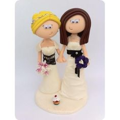 LGBT Lesbian couple's Civil wedding cake topper. I can make any outfits or poses you want, add little props to show jobs or hobbies, anything is possible! www.googlygifts.co.uk I ship World wide.