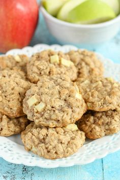 Apple Oatmeal Cookies ~ Easy recipe from pantry ingredients. Makes about 2 dozen thick, soft, chewy cookies. Apple Desserts, Apple Recipes, Sweet Recipes, Baking Recipes, Cookie Recipes, Delicious Desserts, Dessert Recipes, Party Recipes, Fall Desserts