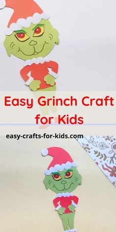 Christma Grinch craft with paper - help kids make the naughty green grinch. Only thing is this one will not steal their presents. Paper Crafts For Kids, Easy Crafts For Kids, Creative Crafts, Fun Crafts, Preschool Christmas Activities, Craft Activities For Kids, Christmas Crafts For Kids, Simple Christmas, Christmas Ideas