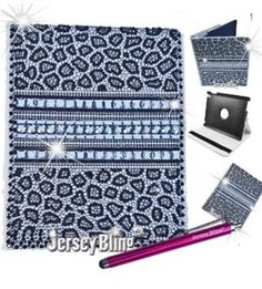 Silver Leopard Bling iPad 2 3 4 Crystal Leather 360 Rotating Case Cover Folio | eBay