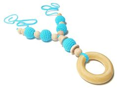 Teething Necklace Smart Mom Necklace Wooden Beads by Starfall