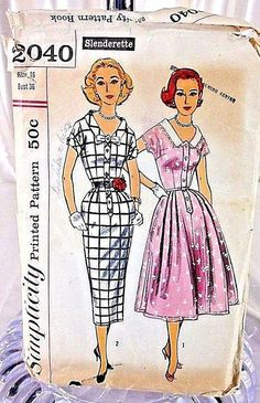 Vintage Simplicity Sewing Pattern 2040 Size 16 Bust 36 One Dress With Two Skirts
