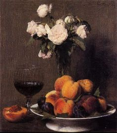 henri fantin latour henri fantin latour still life with roses fruit and a glass of wine