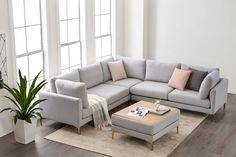 Adams L-Shape Sectional Sofa Dove Gray Brass Living Room Sofa Design, Living Room Sectional, Living Room Designs, Small Living Rooms, Home Living Room, Living Room Decor, Dining Room, Corner Sofa Living Room Small Spaces, How To Decorate Small Living Room