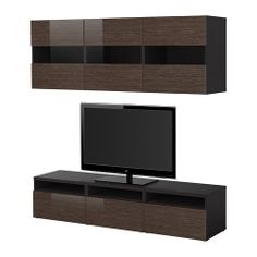 BESTÅ Storage combination w doors/drawers - black-brown bamboo pattern/high-gloss/brown, 180x38 cm - IKEA