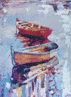 Painted Boat Diamond Painting Home Decoration Finished