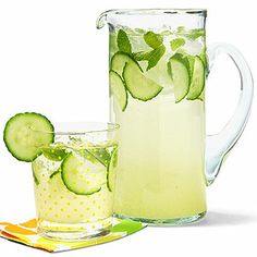 Sparkling Cucumber Limeade --looks good but i think it has a lot of sugar,.... Either reduce if possible or substitute with splenda?