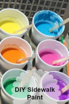Make your Own Sidewalk Paint - awesome summer idea for the kids