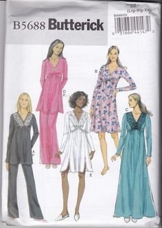 NEW & UNCUT Butterick 5688 in size range Lg-XLg- XXlg for Top, Gown and Pants. Easy to sew. Empire, V-neck, Shaped hem, Knits, Plus Sizes by TreasuresFromGranny on Etsy