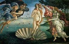 """Gênero, Religião, Mitologia ou História (mais importante na hierarquia dos gêneros). """"O nascimento de Vênus"""" - 1485 - Botticelli. A obra está exposta na Galleria degli Uffizi, em Florença, na Itália.A pintura mostra a Vênus surgindo nua de uma concha sobre as espumas do mar. A obra ainda apresenta Zéfiro, o vento do Oeste, assoprando na direção da deusa, acompanhado pela ninfa Clóris. À direita de Vênus, há uma Hora (deusas das estações) que lhe entrega um manto com flores bordadas."""