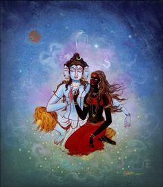 Om Namah Shivay — arjuna-vallabha: Shiva and Kalika, by Tanushree. Shiva Parvati Images, Mahakal Shiva, Shiva Art, Saraswati Goddess, Kali Goddess, Kali Hindu, Hindu Art, Om Namah Shivaya, Indian Gods