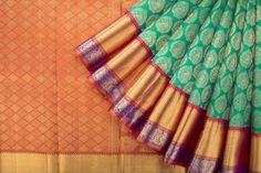 Handwoven Kanjivaram Silk Sari with Getti Pettu Border 1028981 - Saris / All Saris - Parisera
