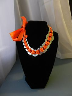 Bright Orange Ribbon Washer Necklace by AlteredAccessories on Etsy, $10.00