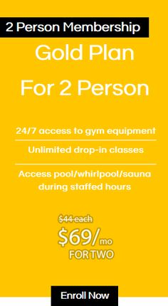 Gold Plan For 2 Person 24/7 access to gym equipment Unlimited drop-in classes Access pool/whirlpool/sauna during staffed hours  $69/mo for Two #gym #fitnessplus Beauty Spa, Fun Workouts, Swimming Pools, Gym Equipment, Weight Loss, Drop, How To Plan, Gold, Swiming Pool