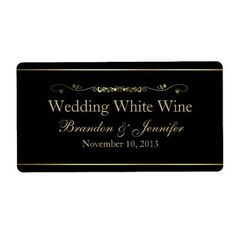 #Valentines #AdoreWe #Zazzle - #Zazzle Black & Gold Custom Wedding Mini Wine Labels - AdoreWe.com