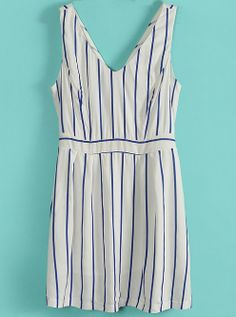 #White #Blue Vertical #Stripe V Neck Sleeveless #Dress
