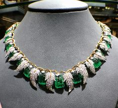This very cool carved emerald and diamond necklace made by JeanSchlumberger for TiffanyandCo in Paris Circa 1950