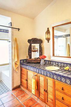 Modern take on Mexican tiled bathroom Spanish Bathroom, Spanish Style Bathrooms, Modern Bathroom, Small Bathroom, Master Bathroom, Bathroom Ideas, Shower Ideas, Mediterranean Bathroom Design Ideas, Mediterranean Decor
