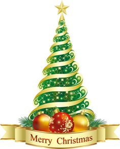 Merry Christmas Green Tree PNG Clipart