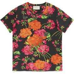 2f16df352 Gucci Acid Blooms Print Cotton Tee ($575) ❤ liked on Polyvore featuring tops,  t-shirts, cotton, ready to wear, sweatshirts & t-shirts, women, ...