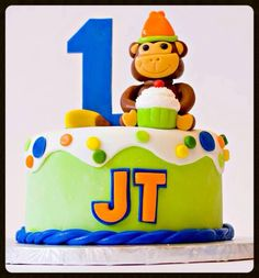 """It's monkey time for JT, and the mommy of this adorable guy chose the perfect theme and colors for her little monkey's 1st birthday. I had a great time making this smash cake for his photo shoot with """"Photography by Sarah Murray"""" and I have to admit I was very happy with how it turned out! Thanks Shelly for asking me to be a part of JT's big day!  (12/09/2013)"""
