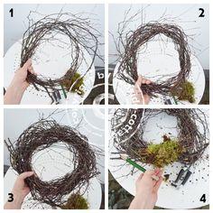 Seaside-Cottage: DIY: A nest made of birch branches Christmas Art, Christmas Wreaths, Twigs Decor, Bird Nest Craft, Birch Branches, Outdoor School, Idee Diy, Spring Crafts, Grapevine Wreath