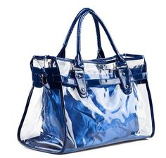 VOCHIC Blue Clear Transparent Tote Shoulder Bag Satchel, Beach Handbag.